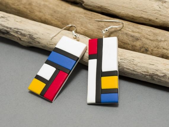 Boucles d'oreilles inspiration Mondrian