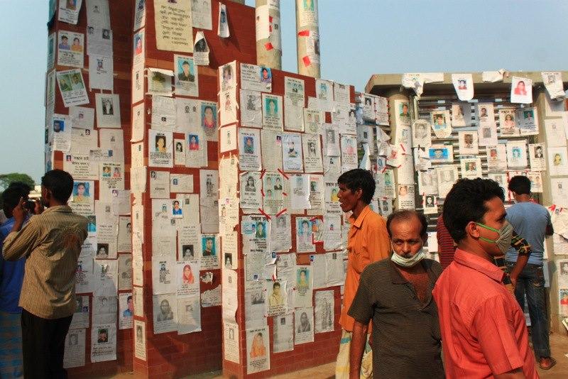 Le mur des victimes de l'effondrement du Rana Plaza.