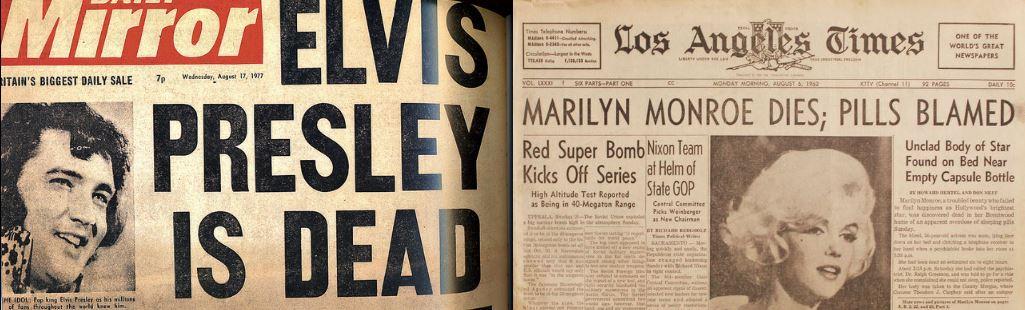 Les unes des journaux annonçant la mort d'Elvis Presley et de Marilyn Monroe