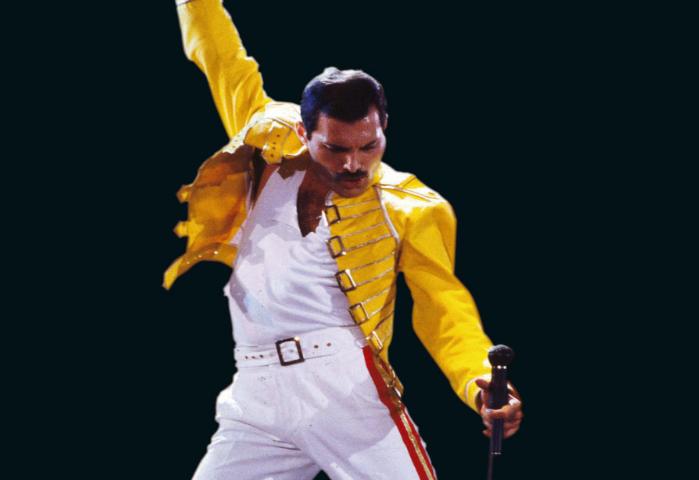Freddy Mercury en 1986, au stade de Wembley