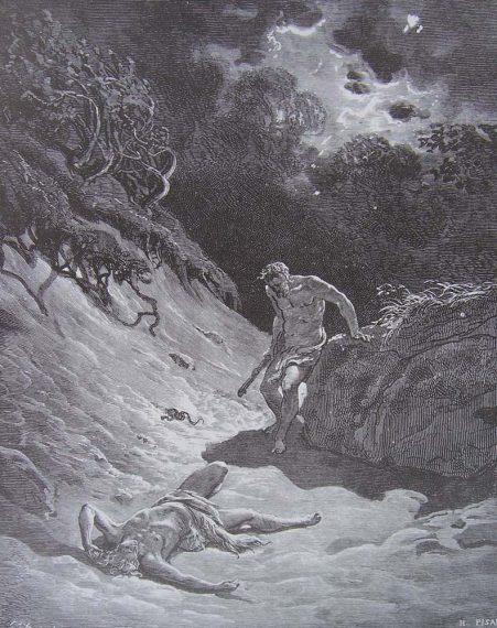 Le meurtre d'Abel par Caïn, gravure de la Bible, Gustave Doré