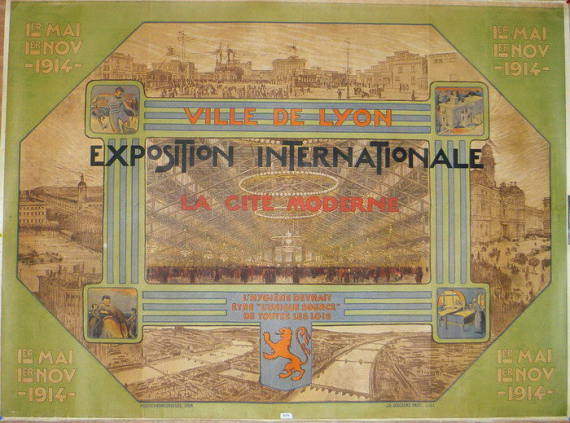 Lithographie de Tony Garnier, 1914 - exposition internationale urbaine.