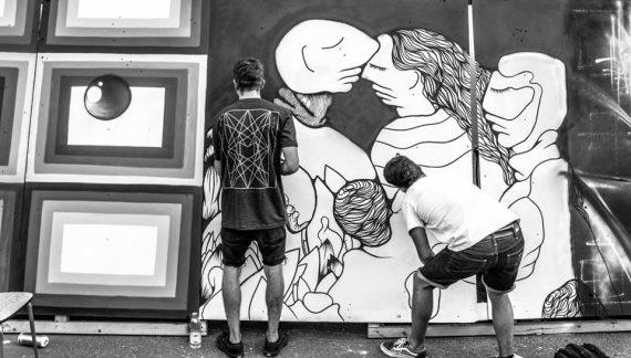 WENC en live painting lors de la première édition de l'Urban Art Jungle Festival